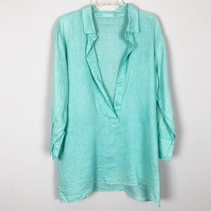 CP Shades Turquoise Linen Tunic